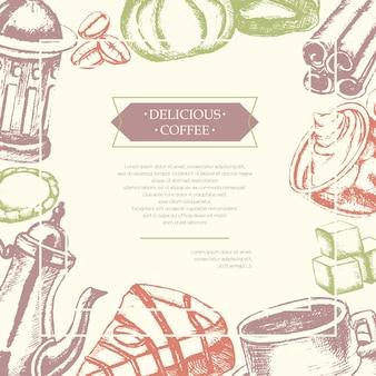 Heerlijke koffie - kleur vector hand getekende samengestelde flyer met copyspace. realistische marshmallow, beker, koekje, molen, theepot, cake, suiker, koffiebonen, kaneel.