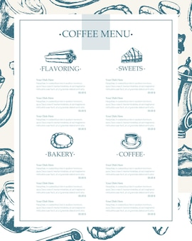 Heerlijke koffie - monochromatisch vectorhand getrokken samengesteld sjabloonmenu met copyspace. realistische marshmallow, beker, koekje, molen, theepot, cake, suiker, koffiebonen, kaneel.