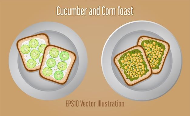 Heerlijke komkommer avocado maïs sandwich toast
