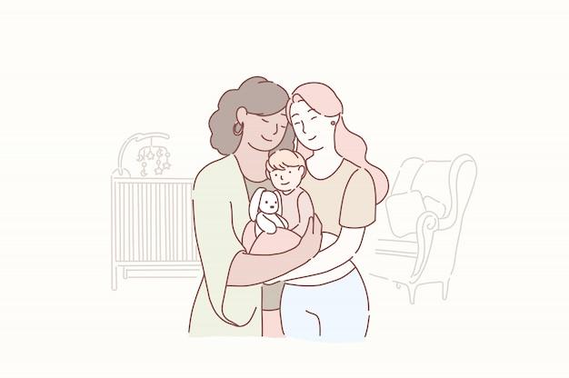 Heerlijke lesbische familie. twee volwassen vrouwen en kleine baby die zich thuis in de kinderkamer verenigen.