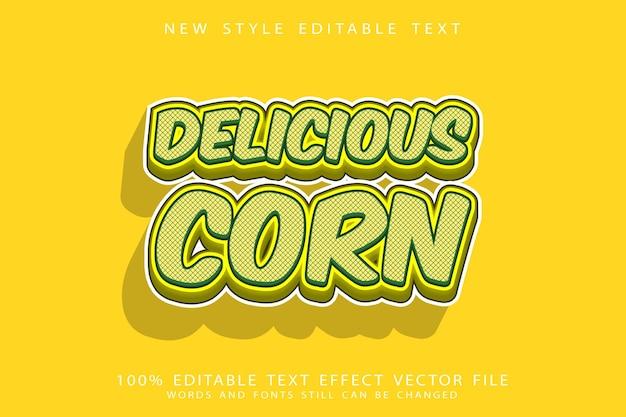 Heerlijke maïs teksteffect reliëf cartoon stijl