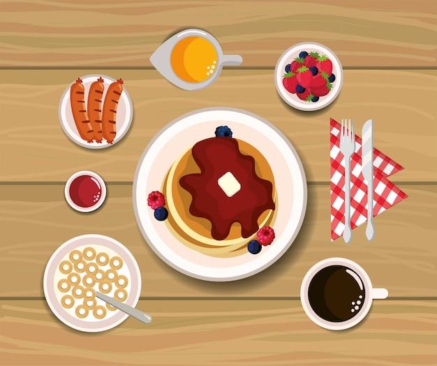 Heerlijke pannekoeken met braambessen en aardbeien saus