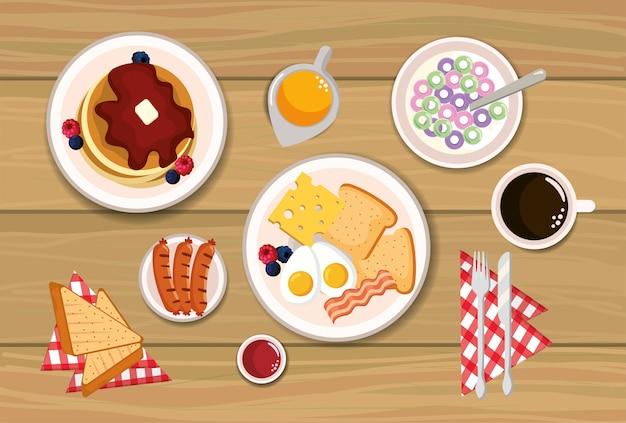 Heerlijke pannekoeken met gebraden eieren en gesneden brood