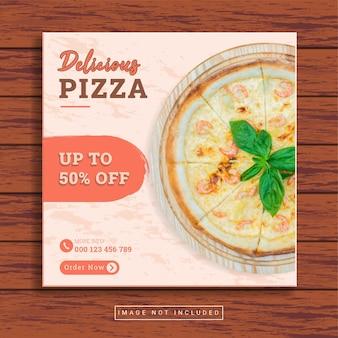 Heerlijke pizza en restaurant culinaire sociale media postsjabloon