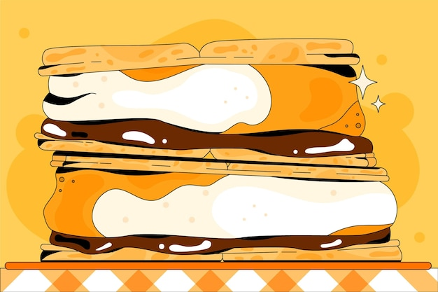 Heerlijke s'mores dessert illustratie