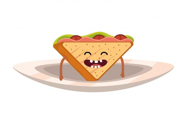 Heerlijke smakelijke sandwich cartoon