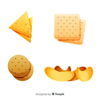 Heerlijke snackcollectie met een realistisch ontwerp