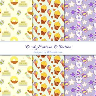 Heerlijke snoepjespatroneninzameling in vlakke stijl