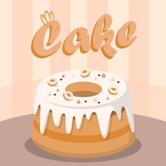 Heerlijke taart met noten flat social media banner