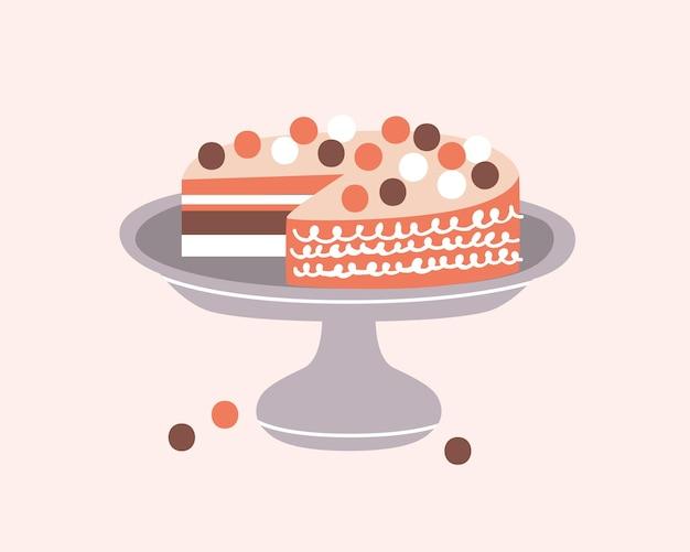 Heerlijke taart versierd met slagroom op taart staan geïsoleerd op lichte achtergrond. lekker dessert, confectie of zoet gebak. decoratief ontwerpelement in hygge-stijl. platte cartoon vectorillustratie.