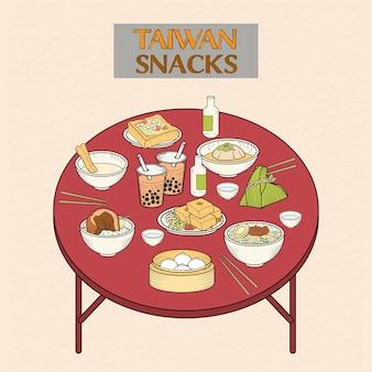Heerlijke taiwan snacks collectie in handgetekende stijl