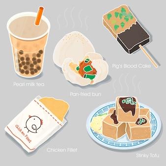 Heerlijke taiwanese snackscollectie in vlakke stijl