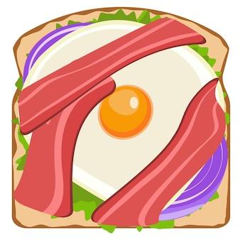 Heerlijke toast met creatie van spek en ei-elementen grafisch ontwerp van voedselillustratie
