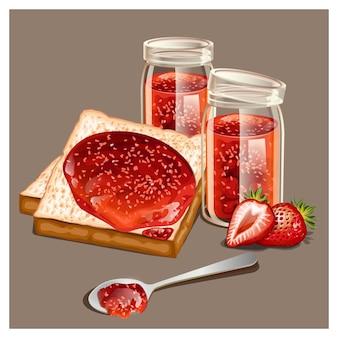 Heerlijke toast met zoete jam geserveerd bij het ontbijt
