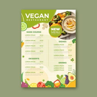 Heerlijke veganistische restaurantsjabloon