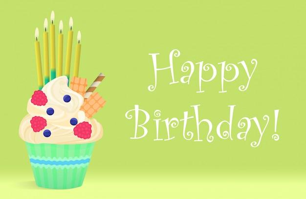 Heerlijke verjaardag cupcake met kaarsen op lichte achtergrond.