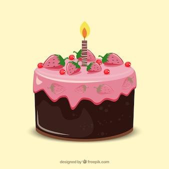 Heerlijke verjaardagstaart in de hand getrokken stijl