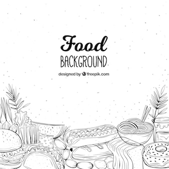 Heerlijke voedselachtergrond met hand getrokken stijl