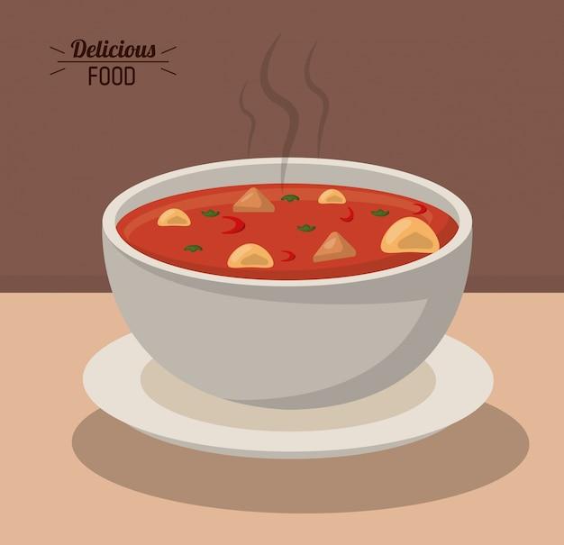 Heerlijke voedselkom soep hete voedingsgroente