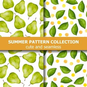 Heerlijke zomerse patrooncollectie met aquarelperen en stippen. zomer spandoek. vector Premium Vector