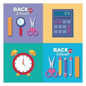 Heerser lupe scsissor rekenmachine klok en potloden vector ontwerp