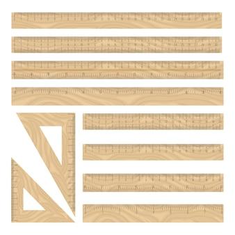 Heersers hout iconen set, rechte en driehoek meetkunde instrumenten collectie op wit