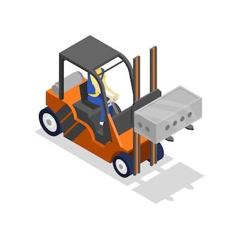 Heftruck laden sintel blok isometrische 3d illustratie