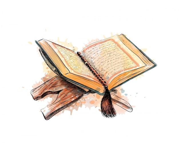 Heilig boek van de koran met rozenkrans, hand getrokken schets illustratie