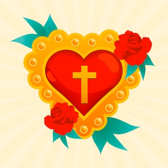 Heilig hart met rozen