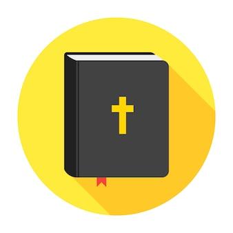 Heilige bijbel boekpictogram. vlak