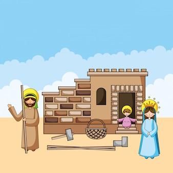 Heilige familie christelijke tekenfilms