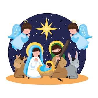 Heilige familie en engelen in aanbidding voor baby jezus