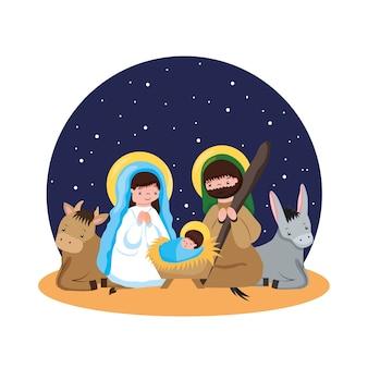 Heilige familie in aanbidding voor baby jezus met ezel en os