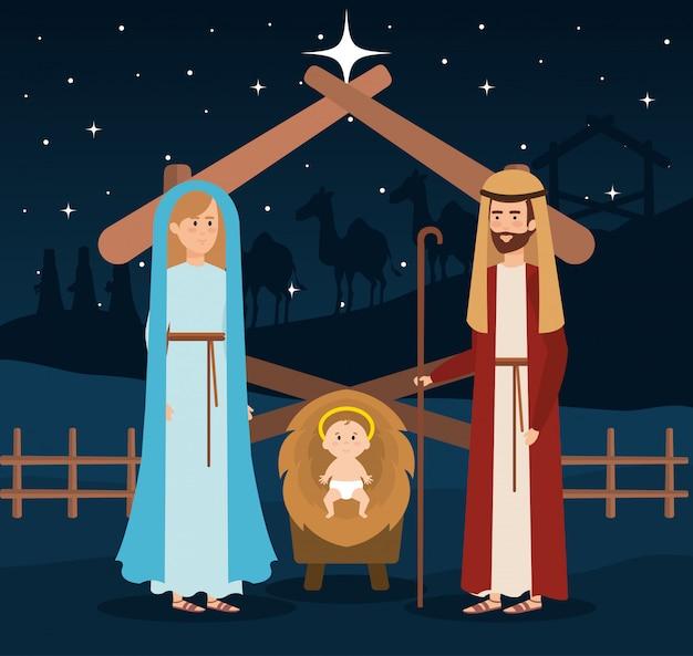 Heilige familie kribbe karakters