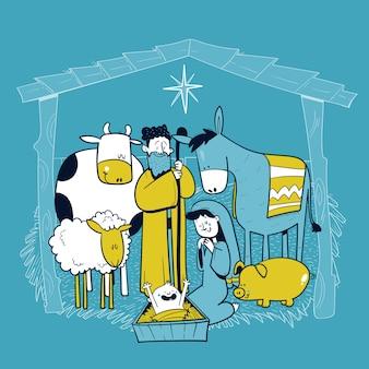Heilige familie kribbe scène met dieren. kaart van vrolijk kerstfeest. pesebre. vector illustratie