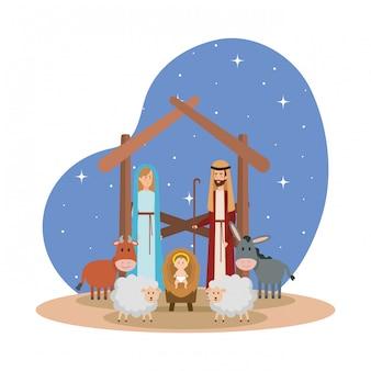Heilige familie met dieren kribbe karakters