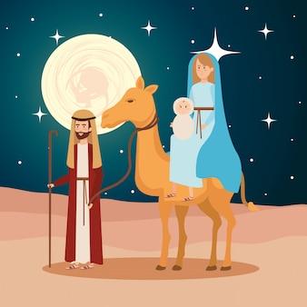 Heilige familie met kamelen manger tekens