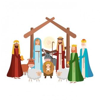 Heilige familie met wijze koningen en dieren