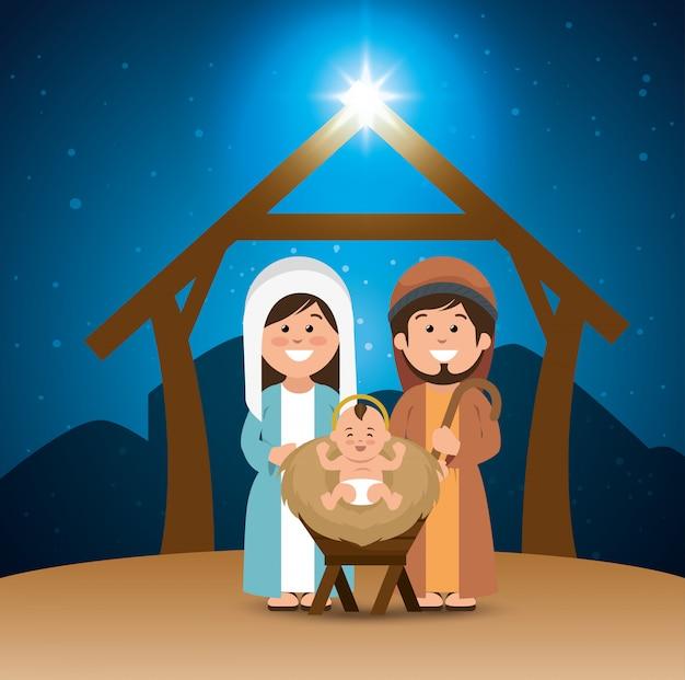 Heilige familie vrolijke kerst kribbe