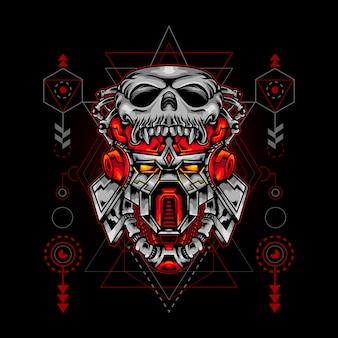 Heilige geometrie skull head robot ilustration