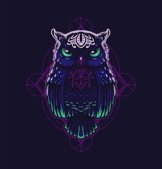 Heilige geometrische uil in het donker