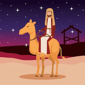 Heilige joseph in het karakter van kameelkerstmis