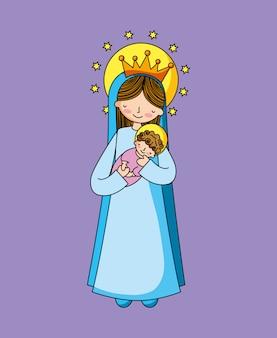 Heilige maagd maria cartoon