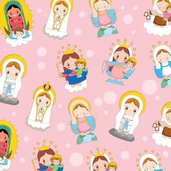 Heilige maria cartoon patroon achtergrond