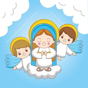 Heilige mary en engel tussen hemel. de aanname van de maagd maria naar de hemel, cartoonillustratie