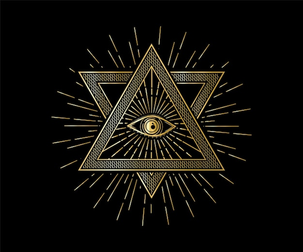 Heilige mystieke god alziend oog illuminati symbool illustratie heilige geometrie tattoo litteken print