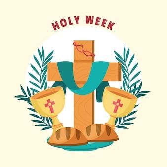 Heilige week illustratie met kruis en wijn