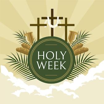 Heilige week illustratie met kruisen