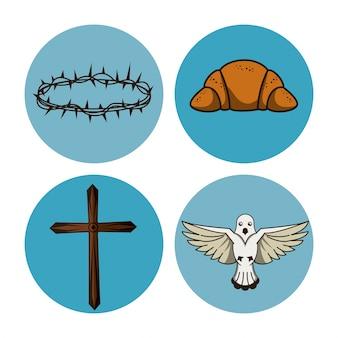 Heilige week ronde pictogrammen
