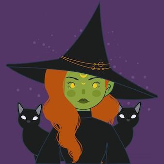 Heks avatar. leuke groene heks met hoed en kat illustratie.
